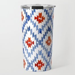 blue rhombus balinese ikat Travel Mug
