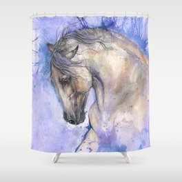 Horse On Purple Background Shower Curtain