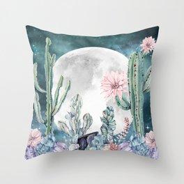 Desert Nights Gemstone Oasis Moon Throw Pillow
