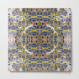Gold Ornate Circular Symmetry Design Metal Print