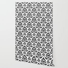 Feuille Damask Pattern Black on White Wallpaper