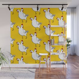 Two Headed Chicken Repeat Pattern Wall Mural