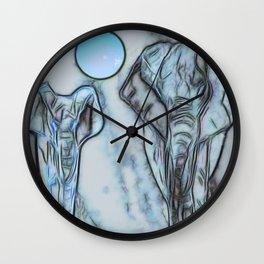 Elephants in blue Wall Clock