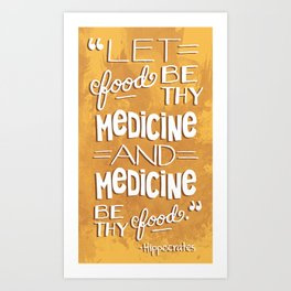 Hand-drawn Quote About Healthy Food Turquoise Art Print