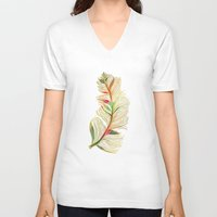 feather V-neck T-shirts featuring Feather by Klara Acel
