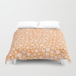 Field of daisies - orange Duvet Cover