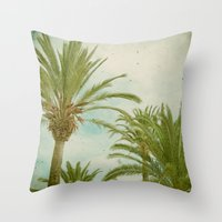 palm trees Throw Pillows featuring Palm Trees by Cassia Beck