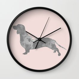 Dachshund pink and black Wall Clock