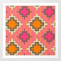 kilim Art Prints featuring tangerine kilim by Sharon Turner