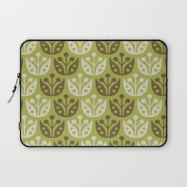 Mid Century Modern Flower Pattern Chartreuse and Brown 112 Laptop Sleeve