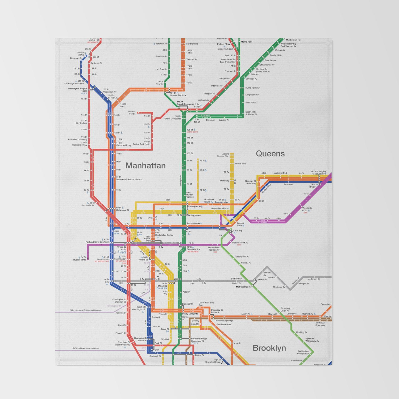 Subway Map Amsterdam.New York City Subway Map Throw Blanket