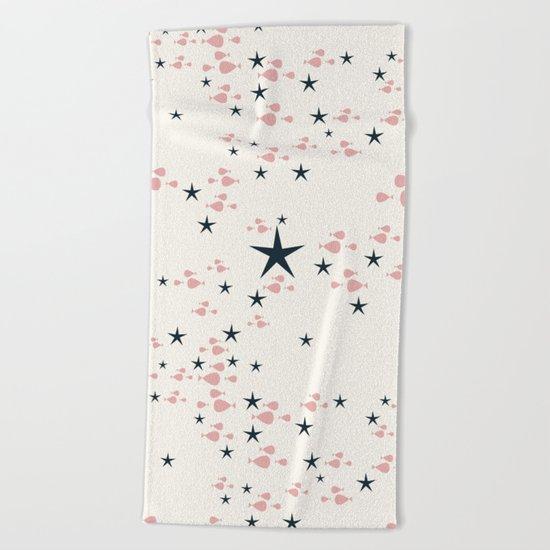 fish and stars pink Beach Towel