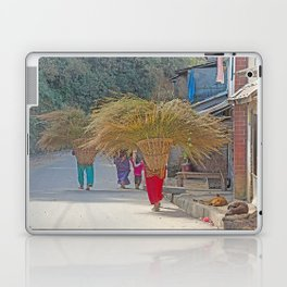 CARRYING GRASS FODDER THROUGH VILLAGE IN NEPAL Laptop & iPad Skin