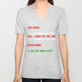 Dear Santa - Funny Christmas Letter Unisex V-Neck