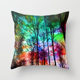 colorful abstract forest Throw Pillow