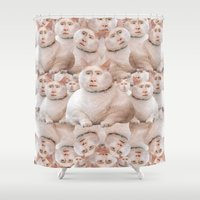 nicolas cage Shower Curtains featuring cage cat collage by Official Nicolas Cage Cats