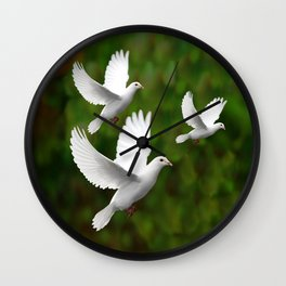 THREE CONTEMPORARY WHITE  DOVES IN GREEN Wall Clock