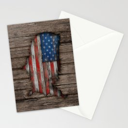 American Wood Flag Stationery Cards