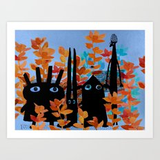 forest gang at night Art Print