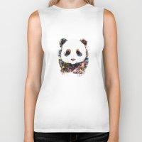 panda Biker Tanks featuring panda by ururuty