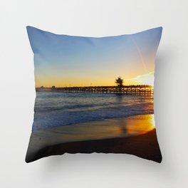 San Clemente Ca pier sunset Throw Pillow