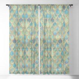 Mermaid Scales (green) Sheer Curtain