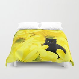 Black Cat Yellow Flowers Spring Mood #decor #society6 #buyart Duvet Cover