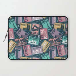 Retro Postcards // blue background Laptop Sleeve