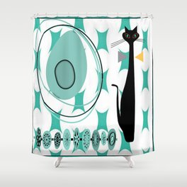 Mid-Century Modern Atomic Art - Teal - Cat Shower Curtain