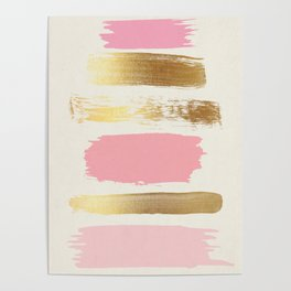 Brush Strokes (Rose/Gold) Poster