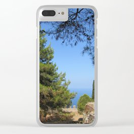 Pine tree, sea and sky landsape Clear iPhone Case