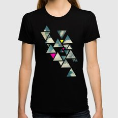 Shattered Sky Black LARGE Womens Fitted Tee