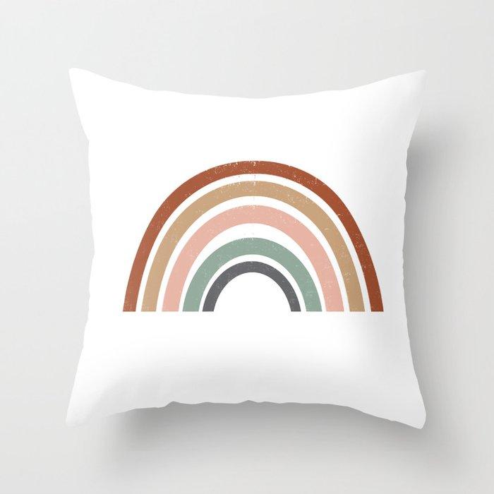 Rainbow Earth Tone Cute Kids Room Decor Muted Art Print For Nursery Throw Pillow By Charlottewinter