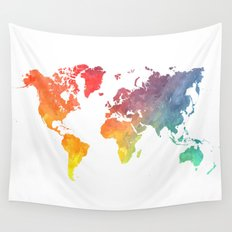 Map of the world colored Wall Tapestry