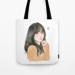 Pink heart - cute girl smiling Tote Bag