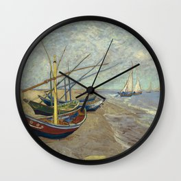 Fishing boats on the beach by Vincent Van Gogh Wall Clock