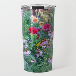Dahlias and echinacea garden Travel Mug