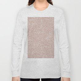 Little wild cheetah spots animal print neutral home trend warm dusty rose coral Long Sleeve T-shirt