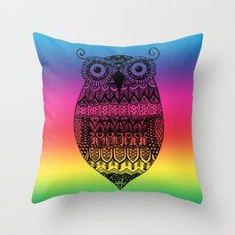 RainbOwl Throw Pillow