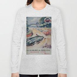 1954 Le Mans poster, Race poster, car poster, programme officiel Long Sleeve T-shirt