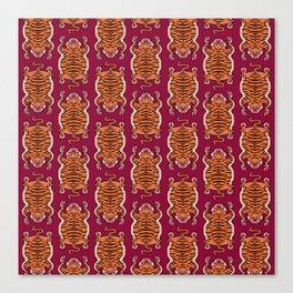 TIBETAN TIGER - ALL OVER (burgundy) Canvas Print