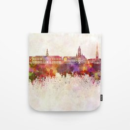 Harvard skyline in watercolor background Tote Bag