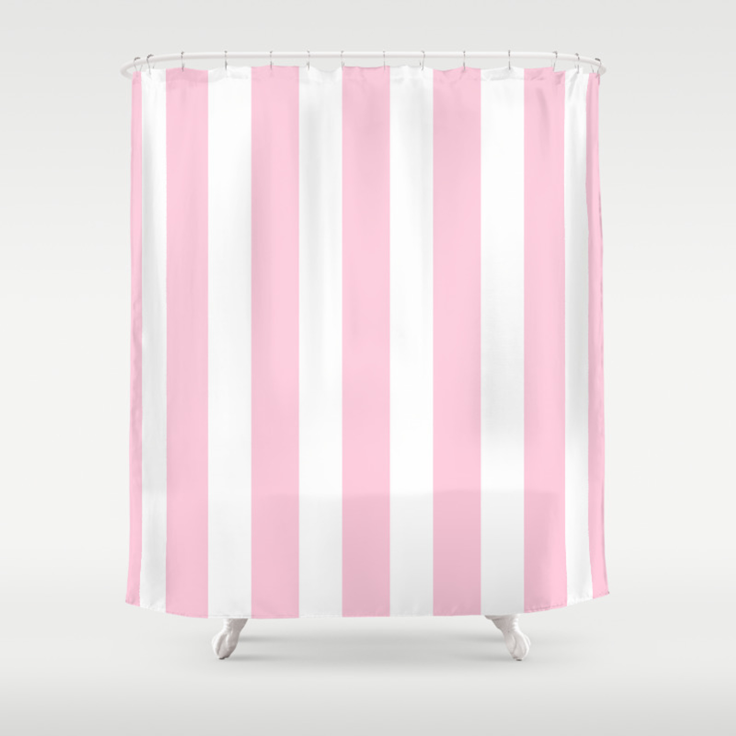 Pink White Vertical Stripes Shower Curtain