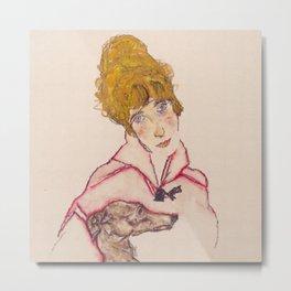 """Egon Schiele """"Edith Schiele mit Windhund"""" Metal Print"""