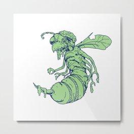 Zombie Bee Cartoon Metal Print