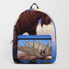 Big Elk Moose Grazing In Pond Ultra HD Backpack