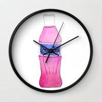 coke Wall Clocks featuring Pink Coke by Shellsea Art