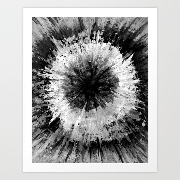Black and White Tie Dye // Painted // Multi Media Art Print