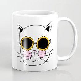 Cat Sunflower Glasses Coffee Mug