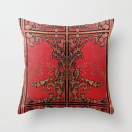 Red and Gold Thistles Throw Pillow
